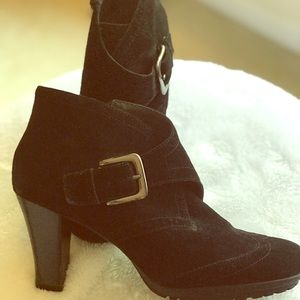 Black Suede Buckle Ankle Bootie